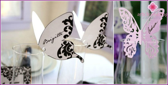 Butterfly-shaped seating card