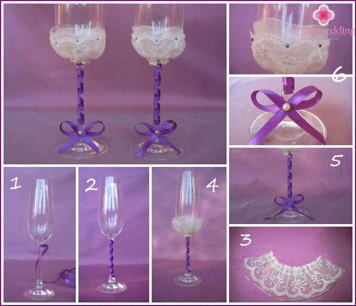 Photo: Decorate the leg of the wedding glass with ribbon