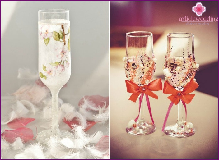 DIY bead application on wine glasses of newlyweds