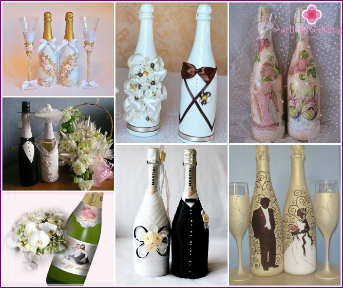 Wedding champagne decorated in different techniques