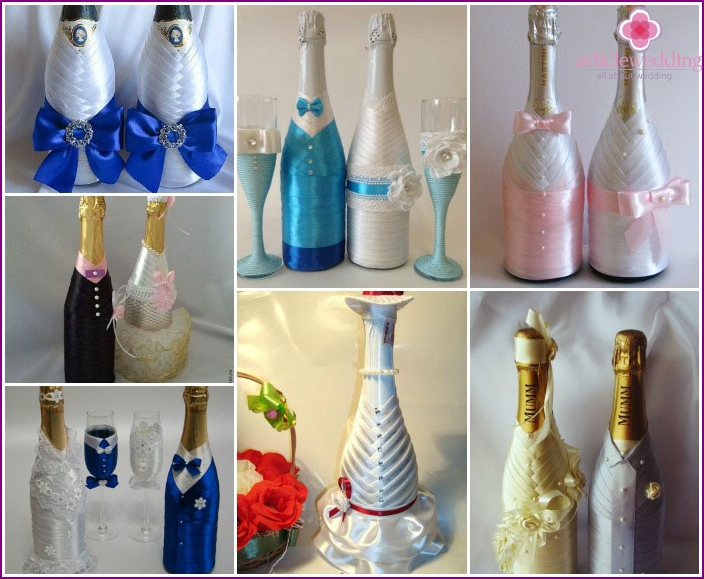 Examples of wedding champagne ribbons