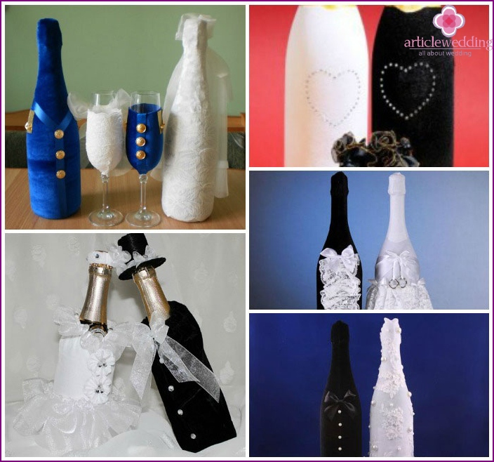 Wedding champagne decoration with velvet