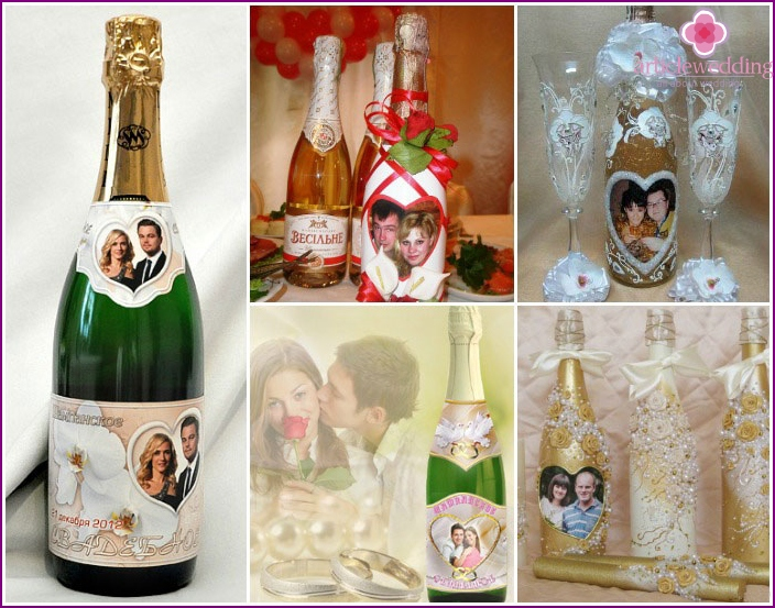 Champagne decorated with newlyweds photographs