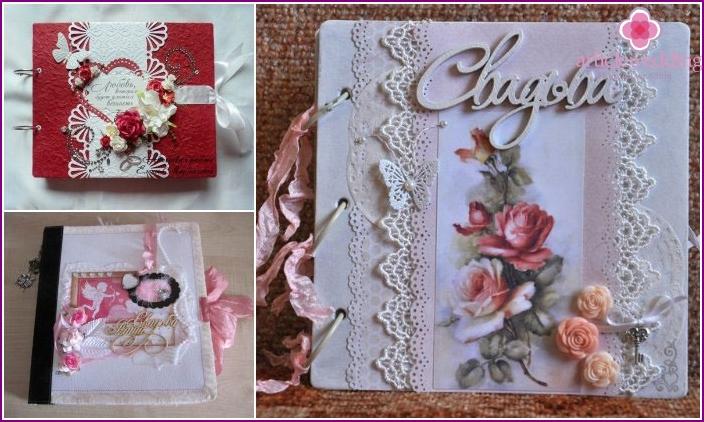 Wedding scrapbooking album with original name