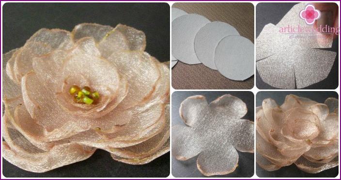 Making organza roses