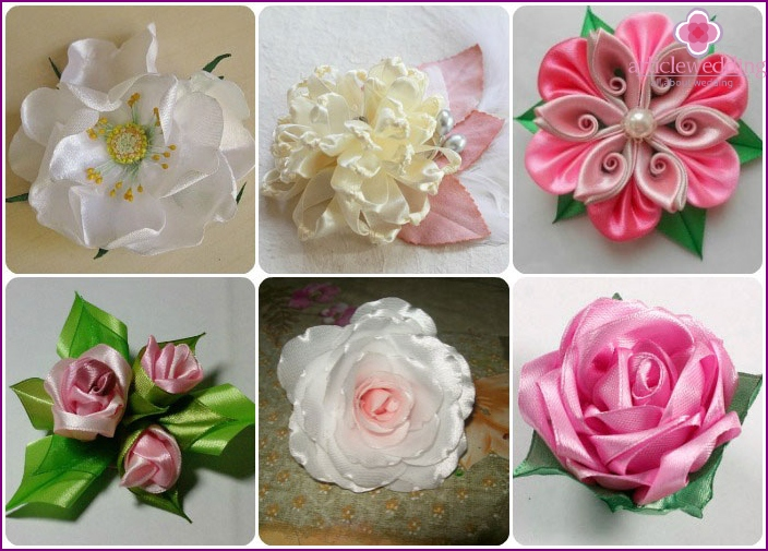 Satin ribbon textile flowers