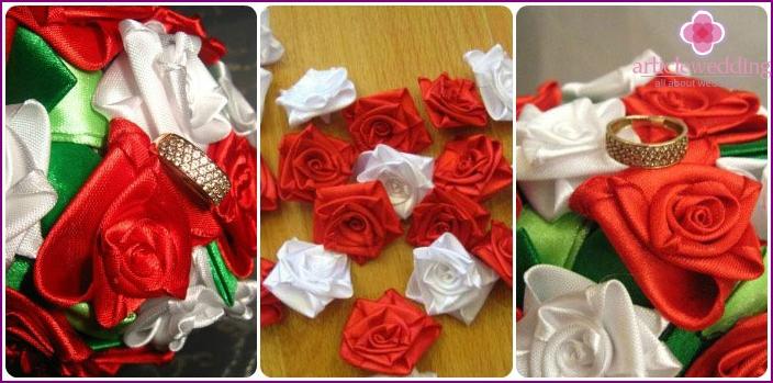 Ready-made satin ribbon roses