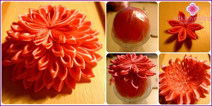 Making a flower using the kanzashi technique