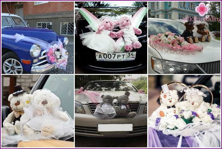 Photo of wedding cars decorated with plush toys