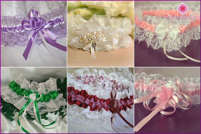Lace garters for the bride