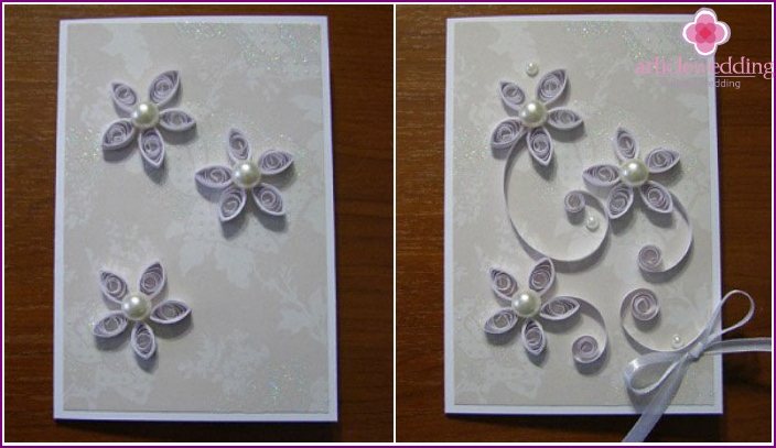 Creating a wedding card using quilling technique