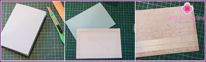 Scrapbooking: the stages of creating a greeting wedding card