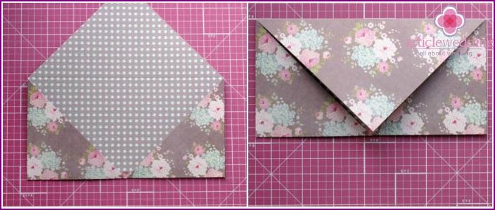Wedding envelope after creasing