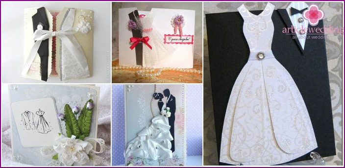Wedding cards in the form of outfits for spouses