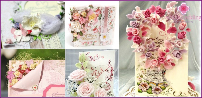 Decoration of wedding greeting cards with flowers.
