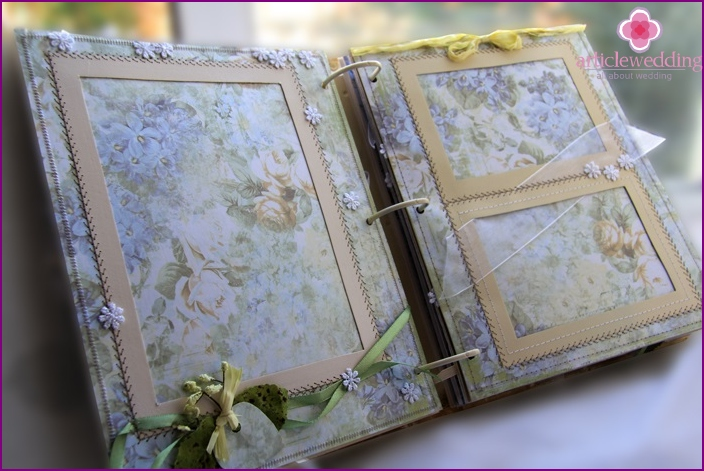 Scrapbook style wedding album page layout example