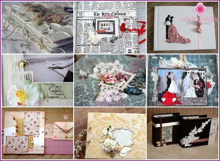 Ideas for scrap album dedicated to the wedding