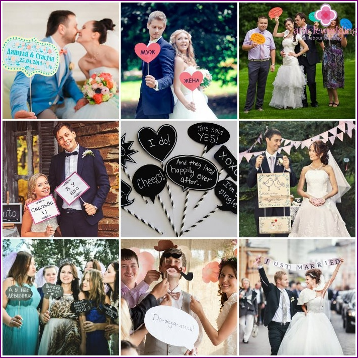 Options for wedding plaques for shooting
