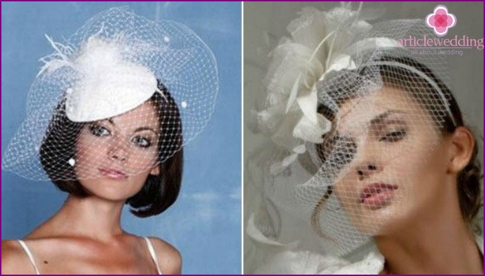 Headpiece for a wedding with a veil