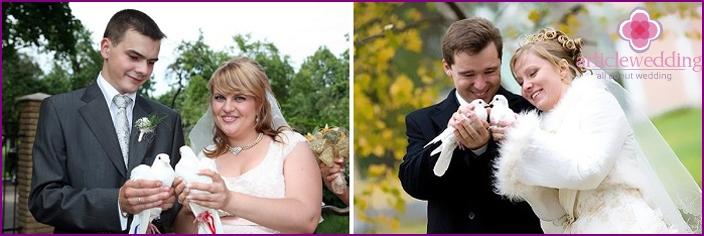 Braut und Bräutigam mit Vögeln