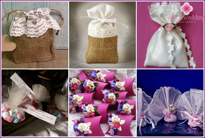 Varieties of bonbonniere bags for a wedding