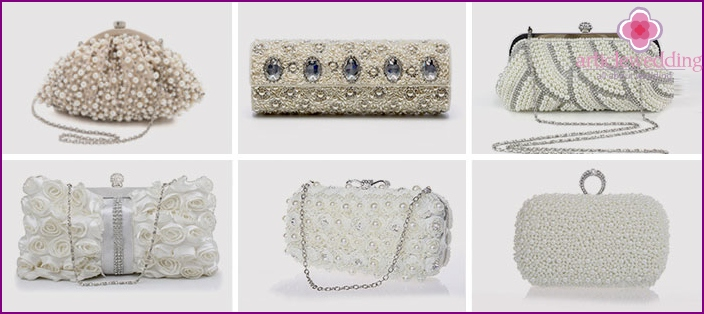 Clutches for the bride, embroidered with rhinestones and pearls