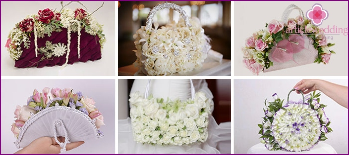 Handbags for the bride, decorated with fresh flowers