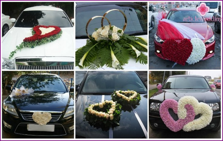 Floral hearts for a wedding car