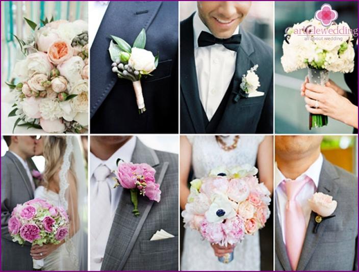 Die Kombination aus Knopfloch und Hochzeitsstrauß