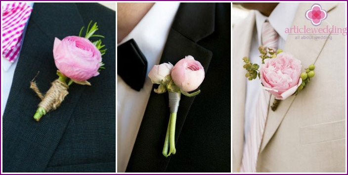 Peony flower arrangements for invited guests