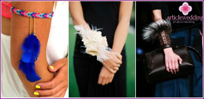 Feathers on the braid in the decoration for the newlywed's girlfriends