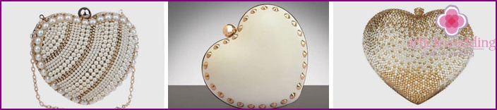 Clutches for the bride in the form of a heart