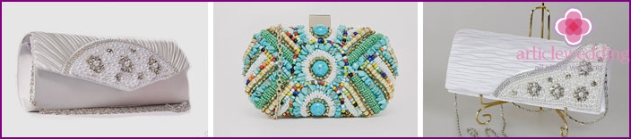 Clutch decor with beads and rhinestones