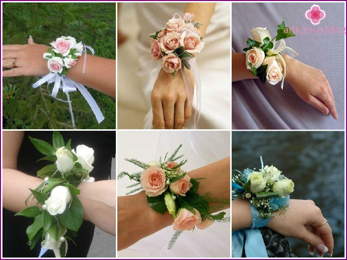 Bouquet bracelet with roses for the witness
