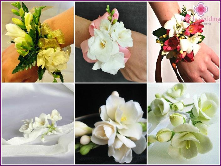 Freesia flower bracelet for the witness