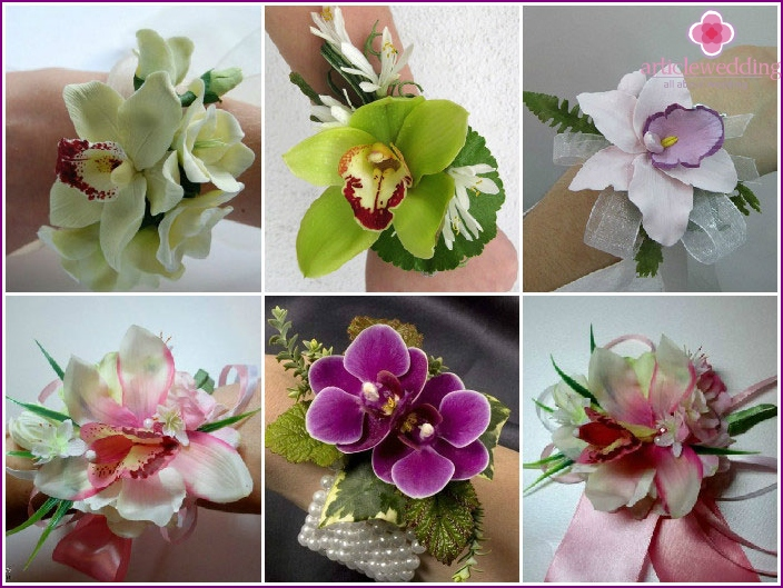 Orchids in bouquets on the hand for the witness