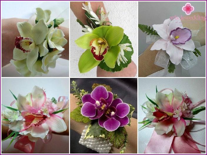 Orkideat kimppuissa kädessä todistajalle