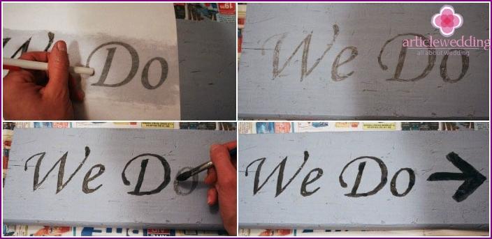 Erstellen Sie eine Inschrift auf einem Hochzeitsschild