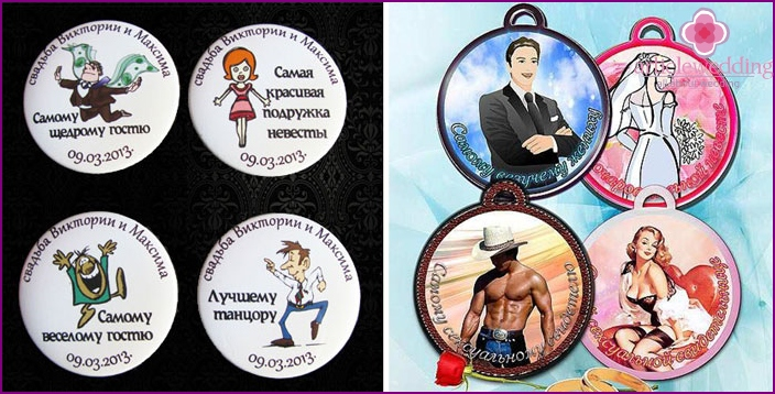 Wedding badges with humor