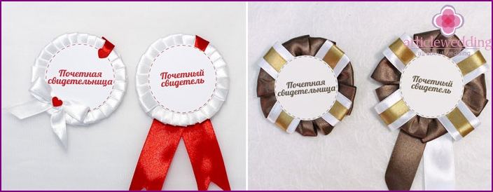 Decor ribbons badges for witnesses