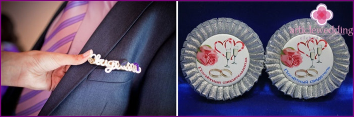 Examples of wedding badges