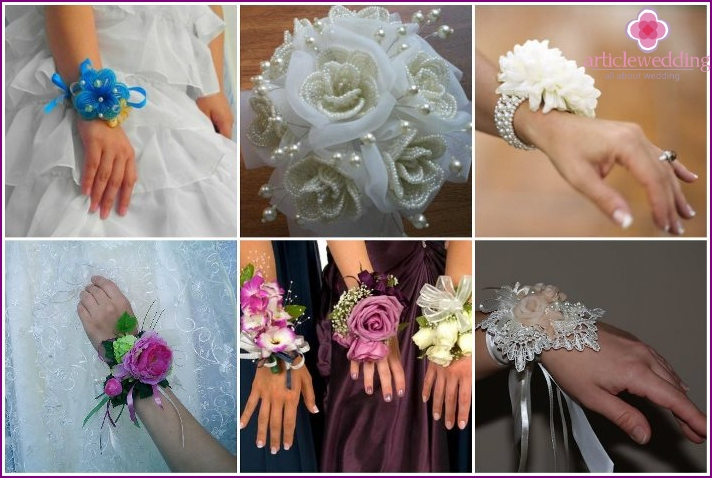 Buttonholes for witnesses made of beads and rhinestones