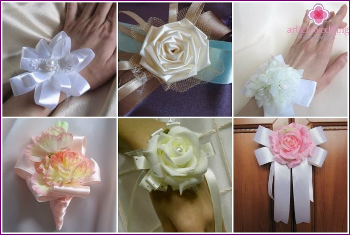 Boutonnieres with satin ribbons for the witness