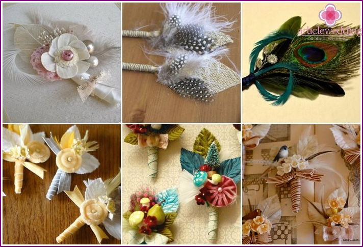 Feather buttonholes for bridesmaids