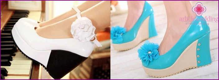 The height of the shoes for the bride