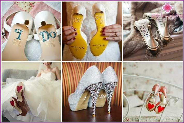 Stickers on the shoes of the bride with interesting inscriptions