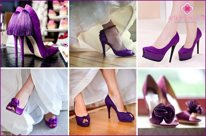Purple sandals are a trend in bridal fashion