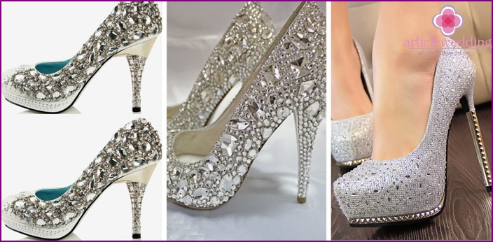 High heel crystals decoration