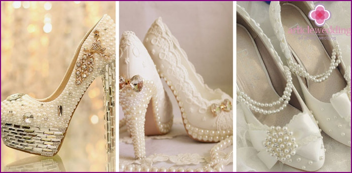 Newlywed shoes with pearls and large stones