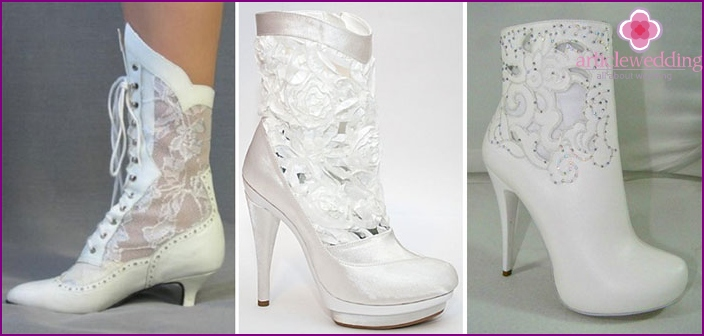 Boots for the bride for a wedding